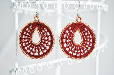 Crochet Beaded Red Hoop Earrings