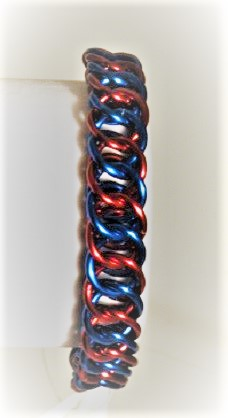 Chainmaille Bracelet - Asgard Blue and Red