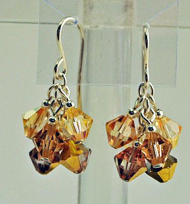 Pom Golden Cluster Crystal Earrings
