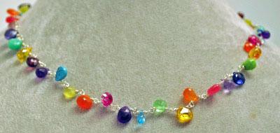 """16"""" Linked Rainbow Stones Necklace by Tashka"""