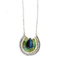 London Peacock Blue Stones Pendant