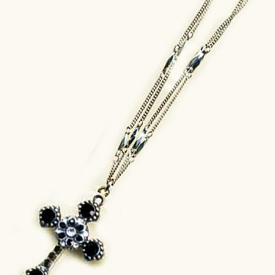 Black and Crystal Cross Necklace
