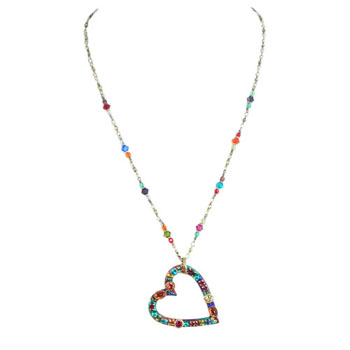 Multi-bright Heart Pendant with Decorated Chain