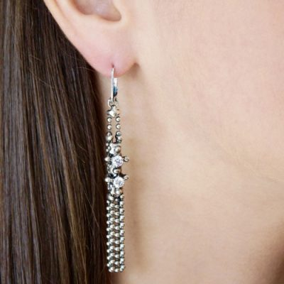 Swarovski Crystal Mesh Silver Tassel Earring