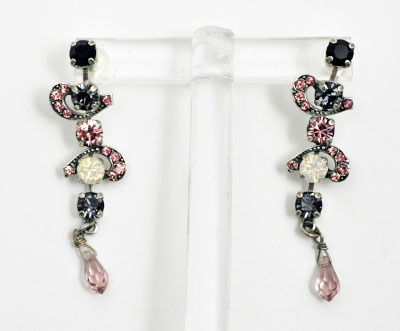 Pink and Black Crystals and Moonstone Earrings