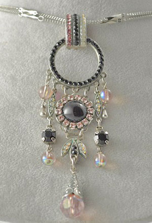 Black and Pink Crystal Pendant