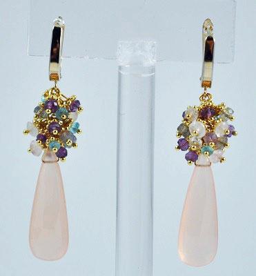 Cluster Gemstones Huggie Hoop Earring