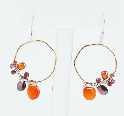 Organic Hoop Earring with Stones