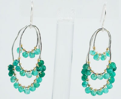 Green Onyx Oval Earrings