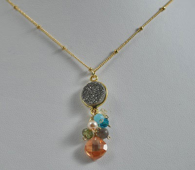 Bezel Druzy with Gemstones Necklace