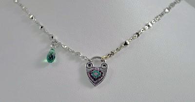 Amethyst and Emerald Heart Pendant