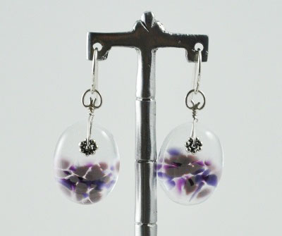 Purple Oval Glass Earrings
