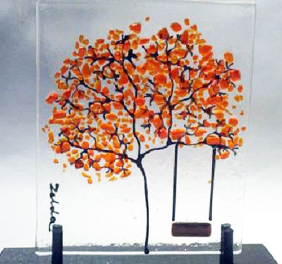 Glass on Glass Tree with Red Swing