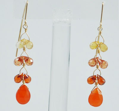 Fire Earring with Colored CZ's and Carnelian