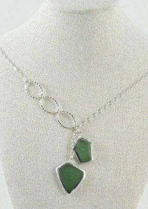 Beach Glass Necklace - Light Green