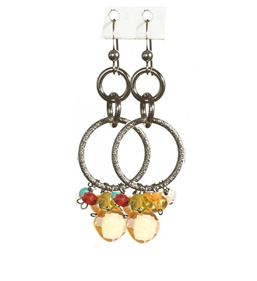 Citrine Paige Circle Pendant Earrings