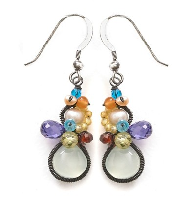 Oxidized Signature Baby Bella Earring with Chalcedony