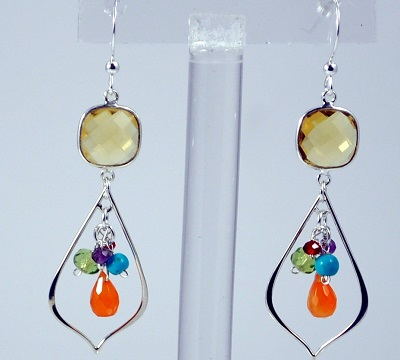 Citrine Bezel Teardrop Multi-stone Earrings