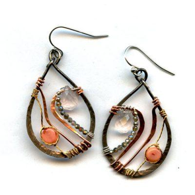 Coral Rose Quartz Earring