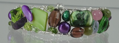 Purple Green Gem Cuff with Magnetic Clasp