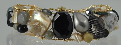 Black, Grey, Beige Gemstone Cuff with Magnetic Clasp