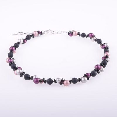 Black and Pinks Small Beaded Necklace