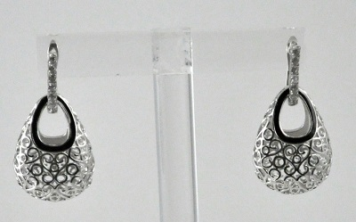 2 in 1 Open Scroll Drop Basket Earring with Crystals in Silver