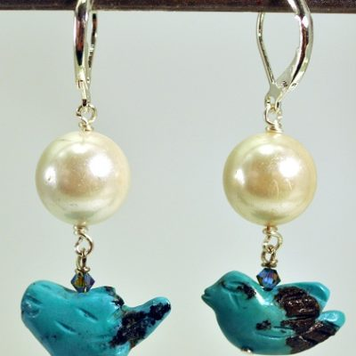 Pearl with Turquoise Bird Earrings