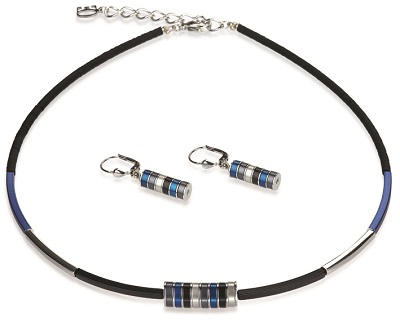 Blue Cylinders Necklace-Earring Set