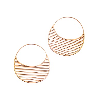 Rose Gold Plated Tiny Pinstripes Hoops