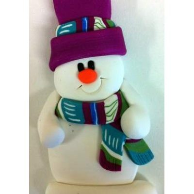 Snowman with Caned Scarf Ornament
