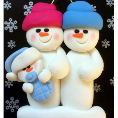 Snowman Couple with Baby Boy or Girl Ornament