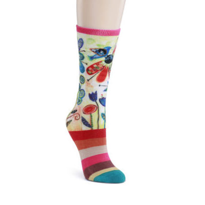 Adult Mid-calf Socks-Flower Garden