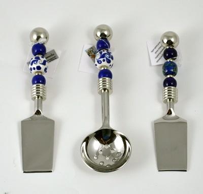 Blue Toile Mini Spreader and Salsa/Berry Spoon and Raku Blue Mini Spreader
