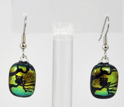 Owl in a Tree Earrings - Dichroic Glass