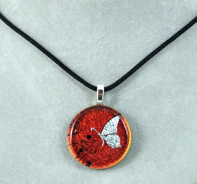 Round Butterfly Dichroic Glass Pendants-Assorted Colors