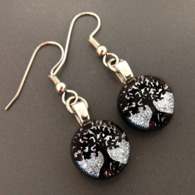 Round Tree of Life Dichroic Glass Earrings
