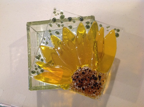 Kilnformed Glass Box - Sunflower