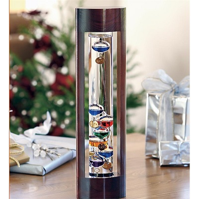 """18"""" Multi Galileo Thermometer in Cherry Stand"""