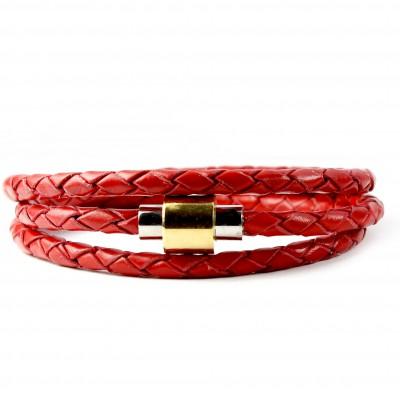 Sobe Triple Red Leather Bracelet
