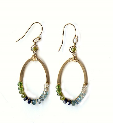 Teal Mixed Stones Earring