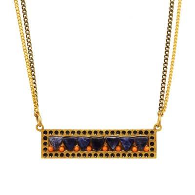 Blue-Coral Sideways Bar Necklace