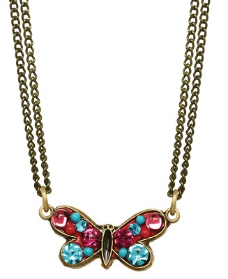 Blue-Pink Butterfly Necklace