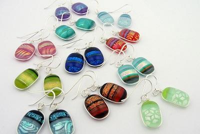 Bright Mosaic Dichroic Glass Earrings