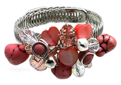 Pink and Clear Beads Silver Wire Memory Bracelet
