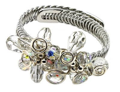 Clear Crystals Silver Memory Bracelet