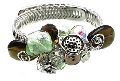 Greens, Smoky Topaz Colored Beads Silver Wire Memory Bracelet
