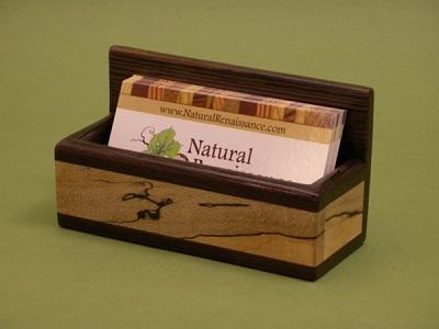 Mahogany and Hard Maple Business Card Holder