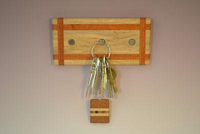 Hard Maple-Mahogany Ribbon Key Rack with 3 Magnets