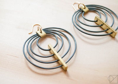 Bridges and Balloons Circle Earrings